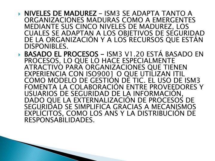 NIVELES DE MADUREZ –