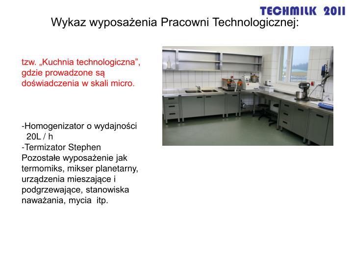 Wykaz wyposażenia Pracowni Technologicznej: