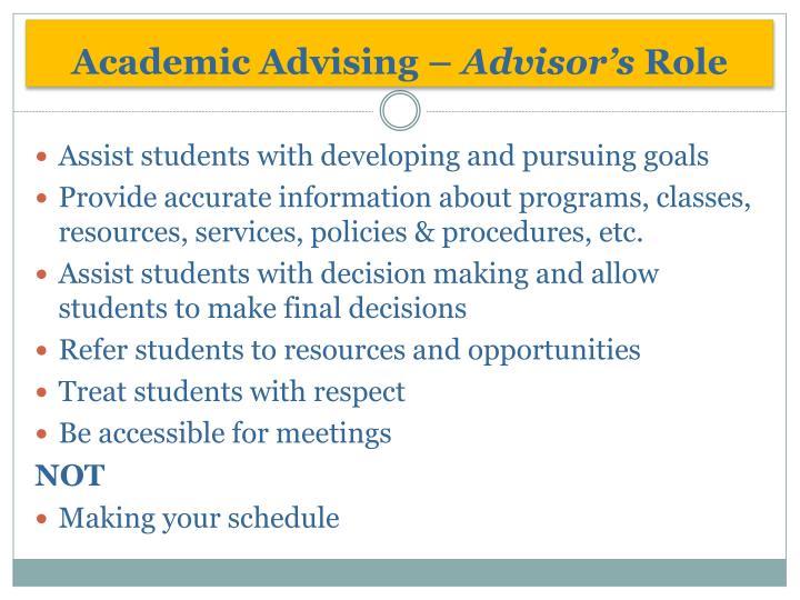 Academic Advising –