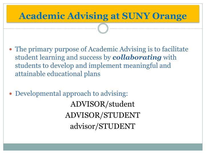 Academic Advising at SUNY Orange