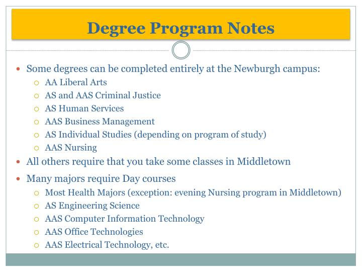 Degree Program Notes