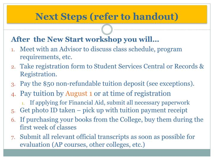 Next Steps (refer to handout)