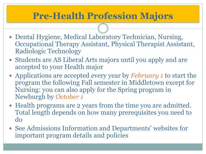 Pre-Health Profession Majors