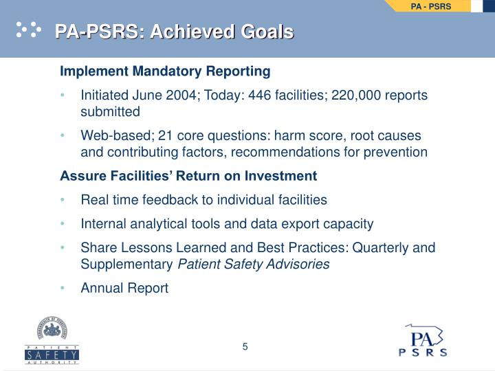 PA-PSRS: Achieved Goals