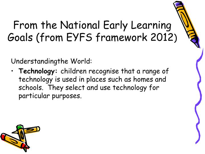 From the National Early Learning Goals (from EYFS framework 2012