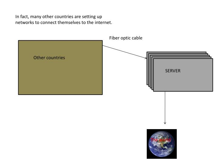 In fact, many other countries are setting up networks to connect themselves to the internet.