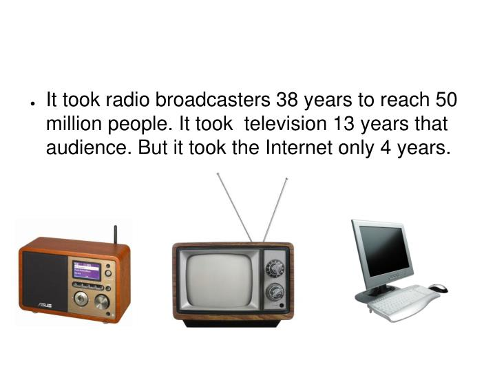 It took radio broadcasters 38 years to reach