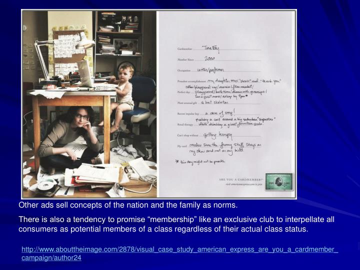 Other ads sell concepts of the nation and the family as norms.
