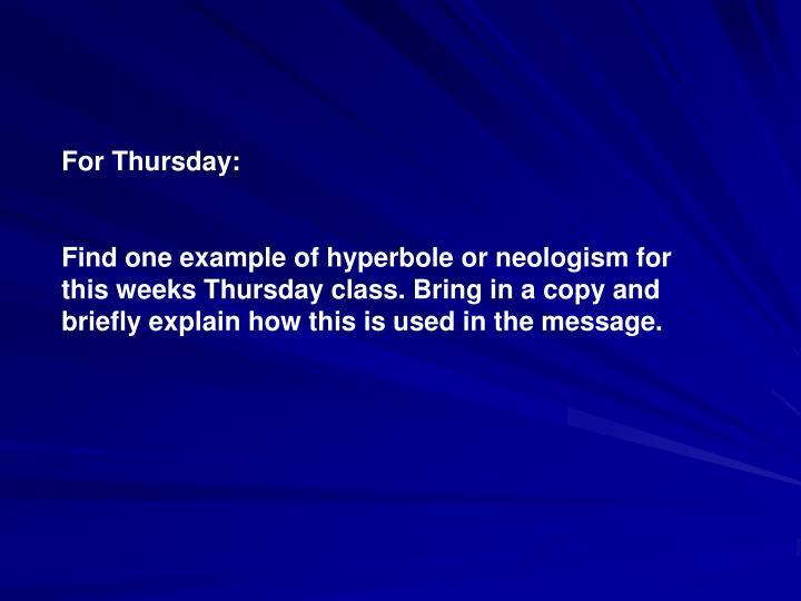 For Thursday: