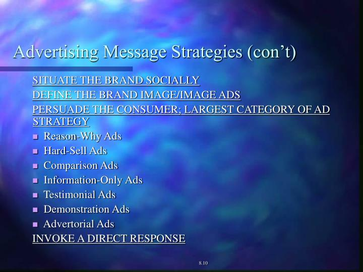 Advertising Message Strategies (con't)