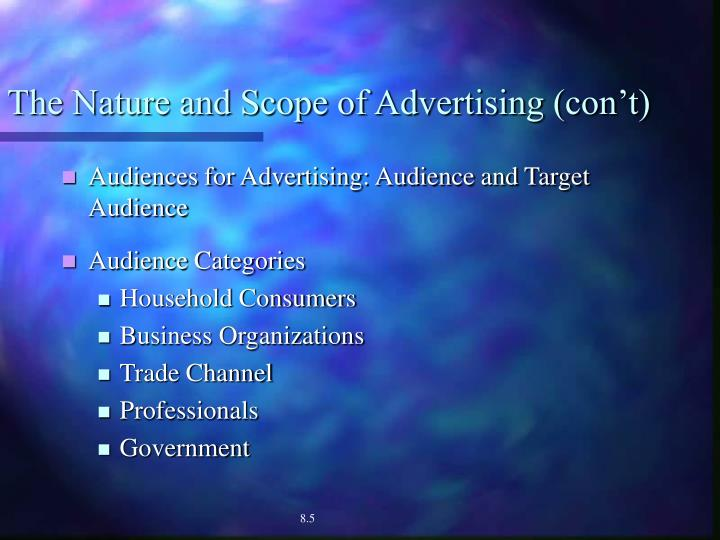 The Nature and Scope of Advertising (con't)