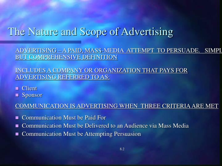The nature and scope of advertising