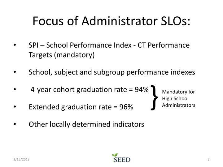 Focus of Administrator SLOs:
