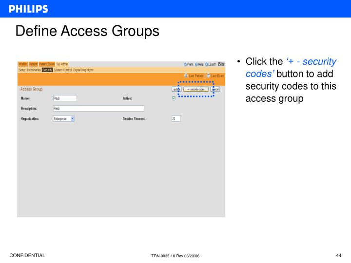 Define Access Groups