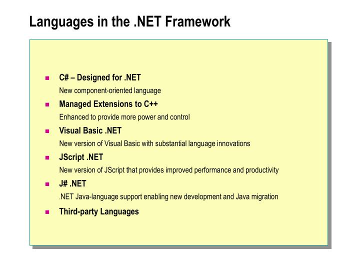 Languages in the .NET Framework