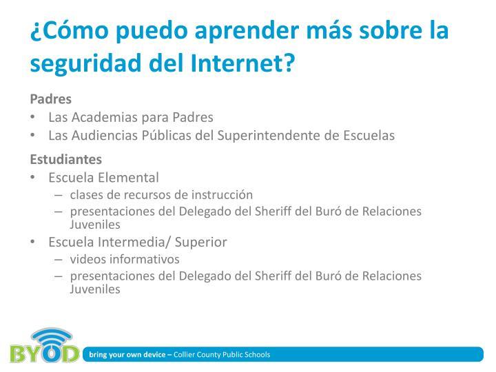 ¿Cómo puedo aprender más sobre la seguridad del Internet?