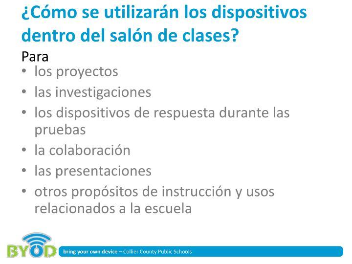 ¿Cómo se utilizarán los dispositivos dentro del salón de clases?