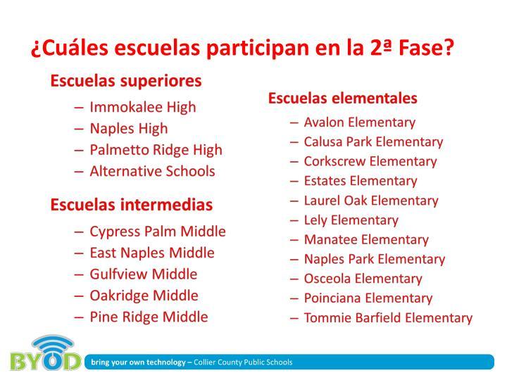 ¿Cuáles escuelas participan en la 2ª Fase?