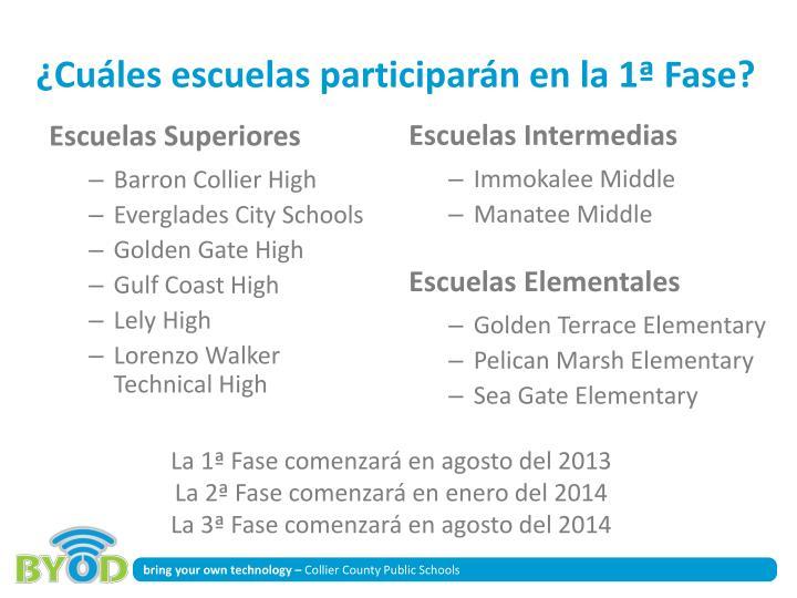 ¿Cuáles escuelas participarán en la 1ª Fase?