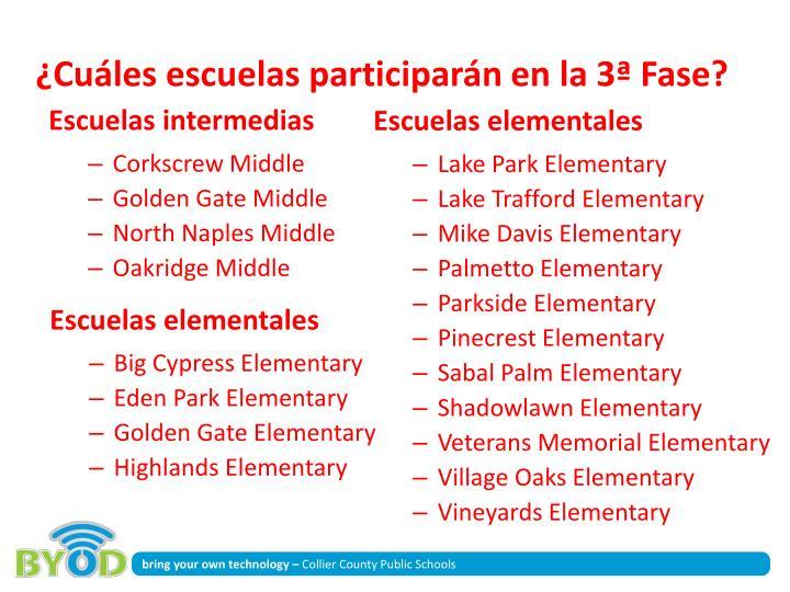 ¿Cuáles escuelas participarán en la 3ª Fase?