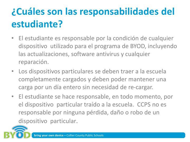 ¿Cuáles son las responsabilidades del estudiante?