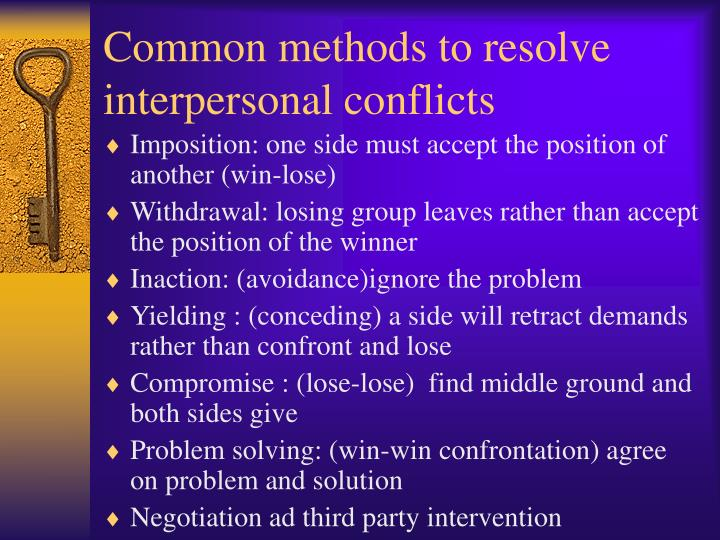 Common methods to resolve interpersonal conflicts
