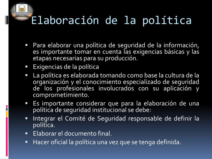 Elaboración de la política