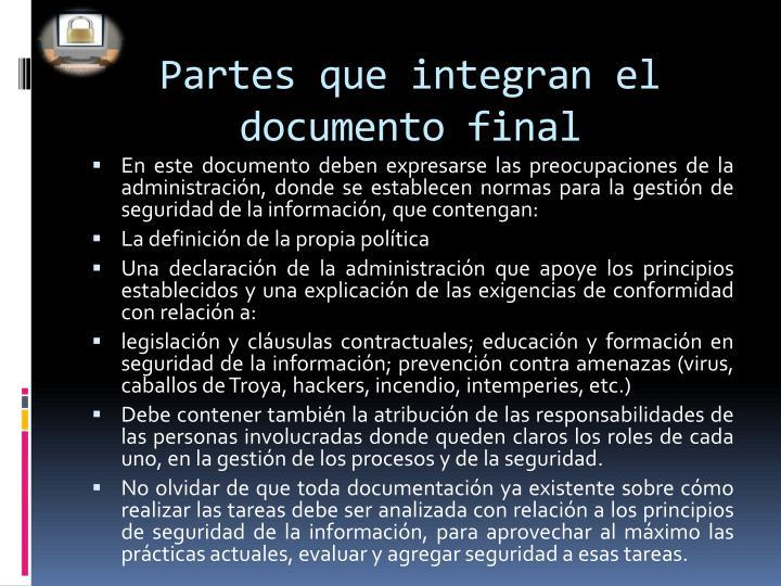 Partes que integran el documento final
