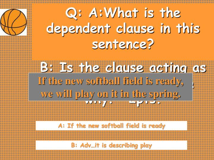 Q: A:What is the dependent clause in this sentence?