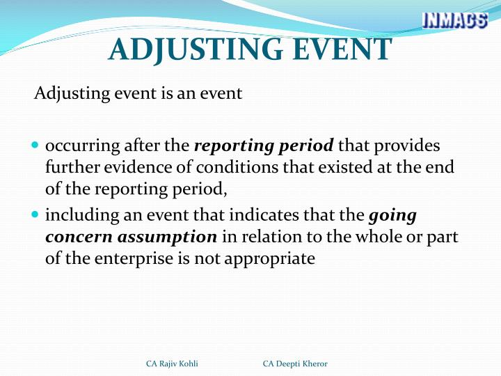 ADJUSTING EVENT