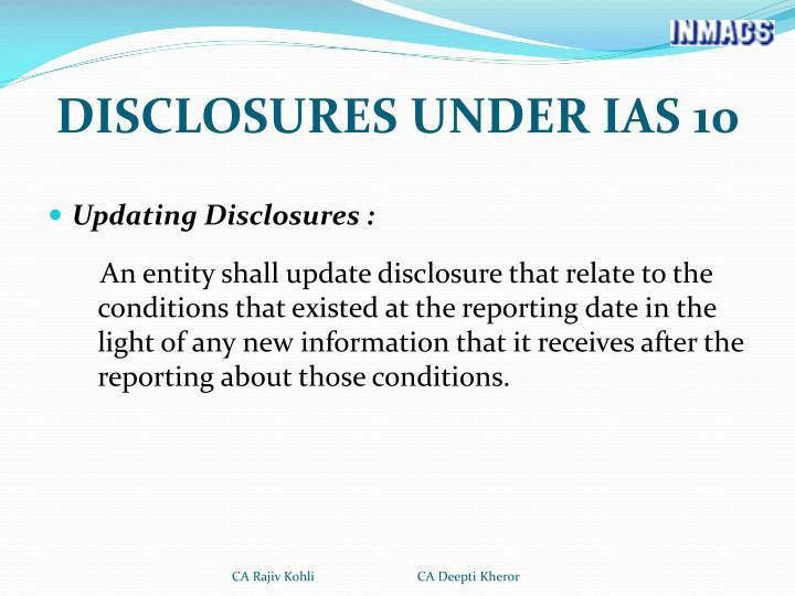 DISCLOSURES UNDER IAS 10