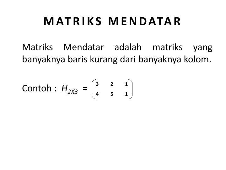 MATRIKS MENDATAR