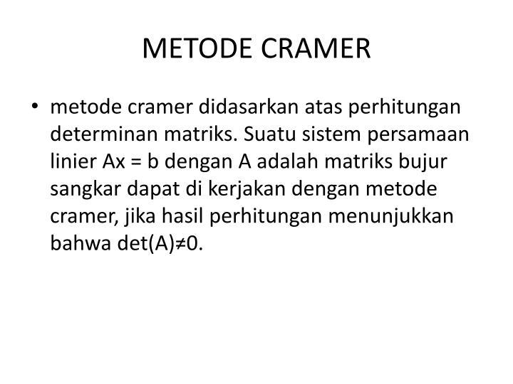 METODE CRAMER