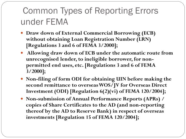 Common Types of Reporting Errors under FEMA