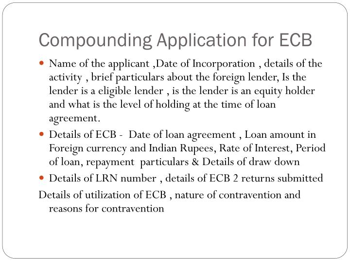 Compounding Application for ECB