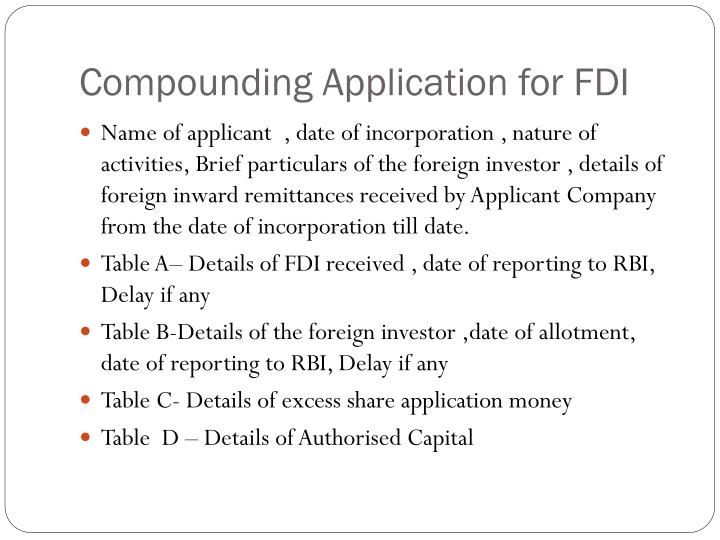 Compounding Application for FDI