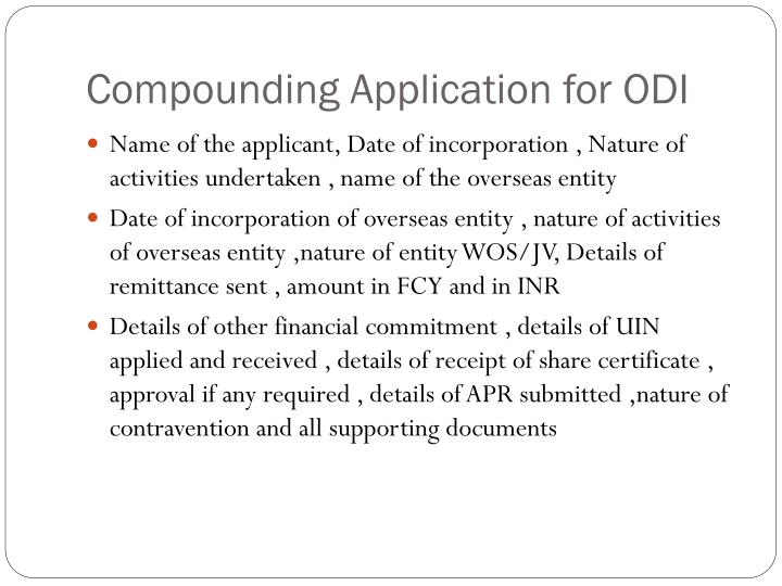 Compounding Application for ODI