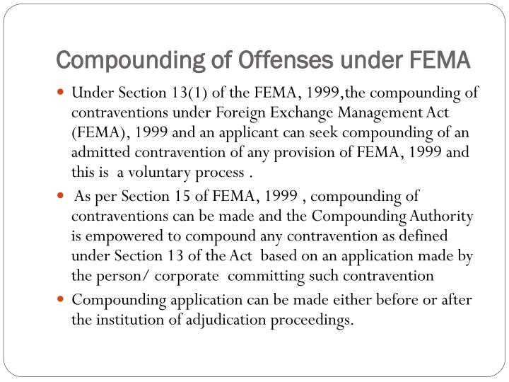 Compounding of offenses under fema1