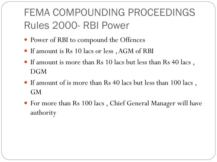 FEMA COMPOUNDING PROCEEDINGS Rules 2000- RBI Power