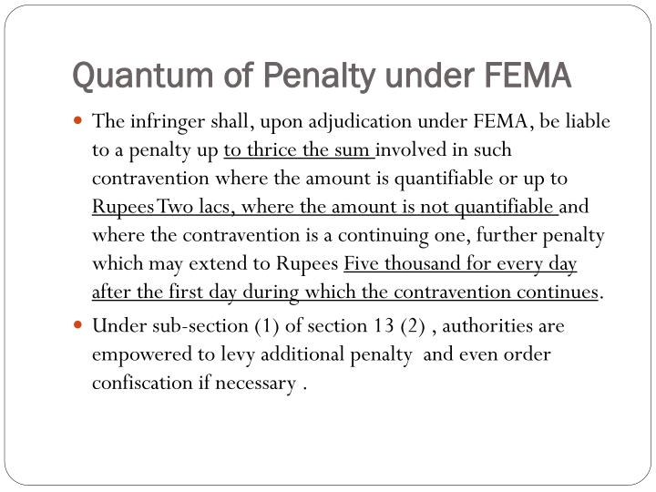 Quantum of Penalty under FEMA