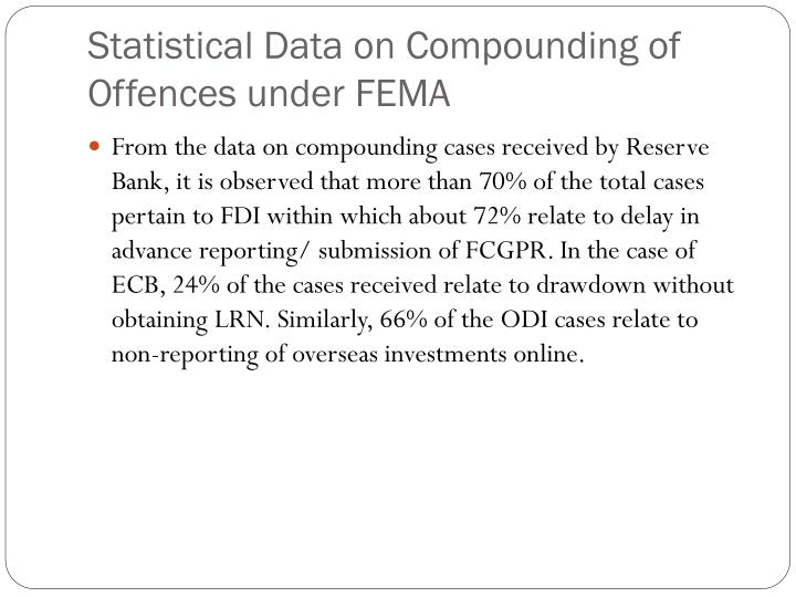 Statistical Data on Compounding of Offences under FEMA