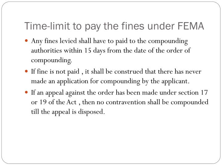 Time-limit to pay the fines under FEMA