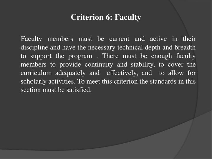 Criterion 6: Faculty