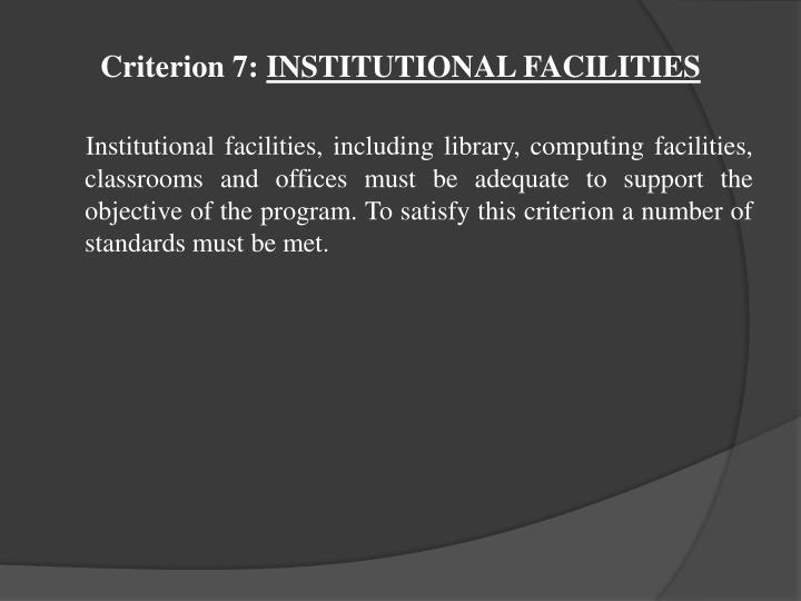 Criterion 7: