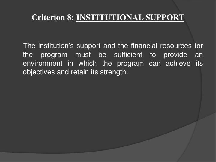Criterion 8: