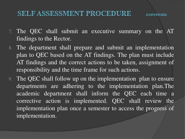 Self Assessment procedure
