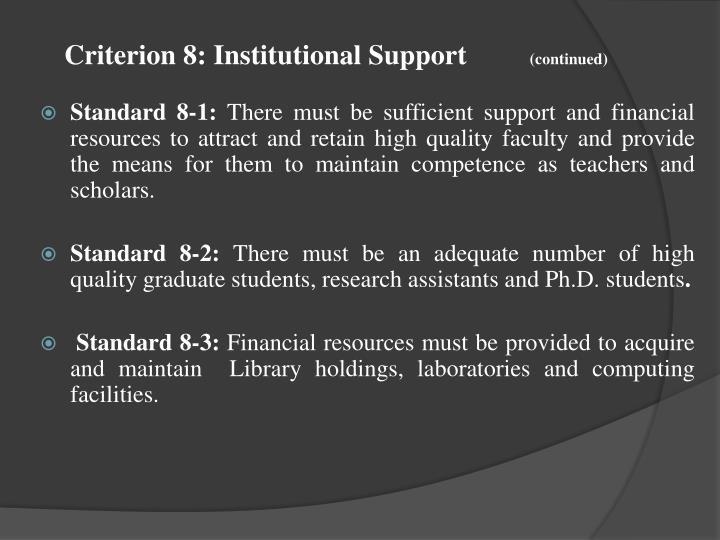 Criterion 8: Institutional