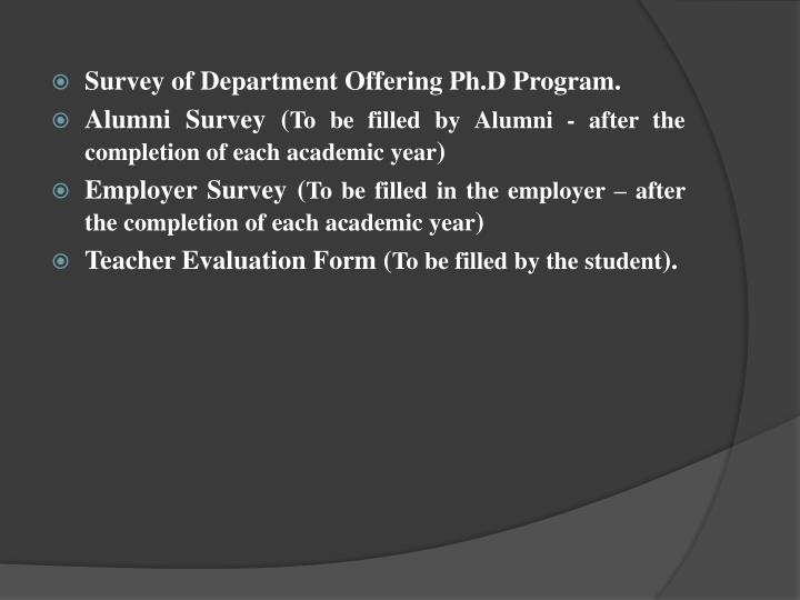 Survey of Department Offering