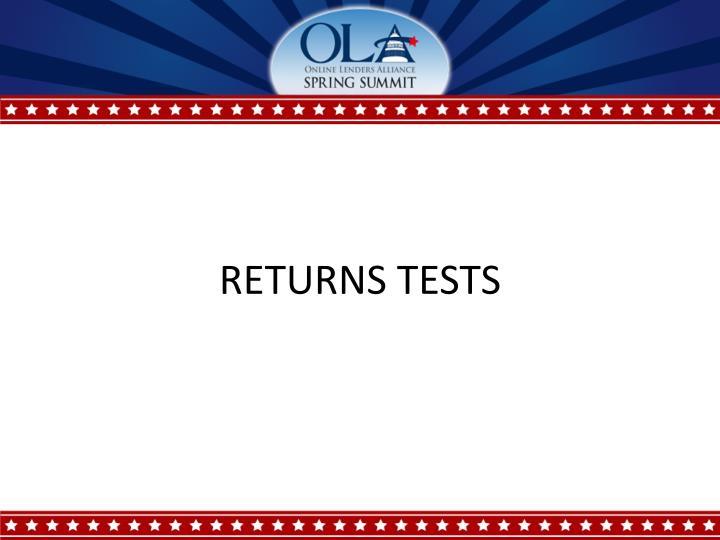 RETURNS TESTS