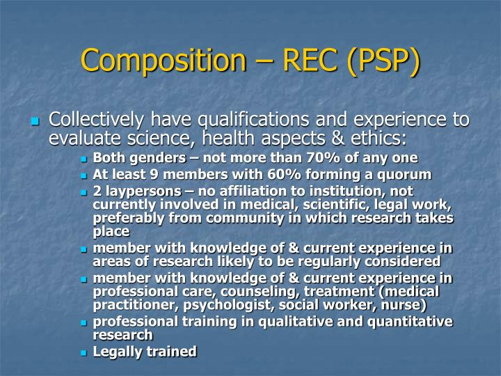 Composition – REC (PSP)